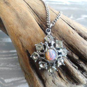 Silver Pendant Pink stone   Silver Chain   Costume